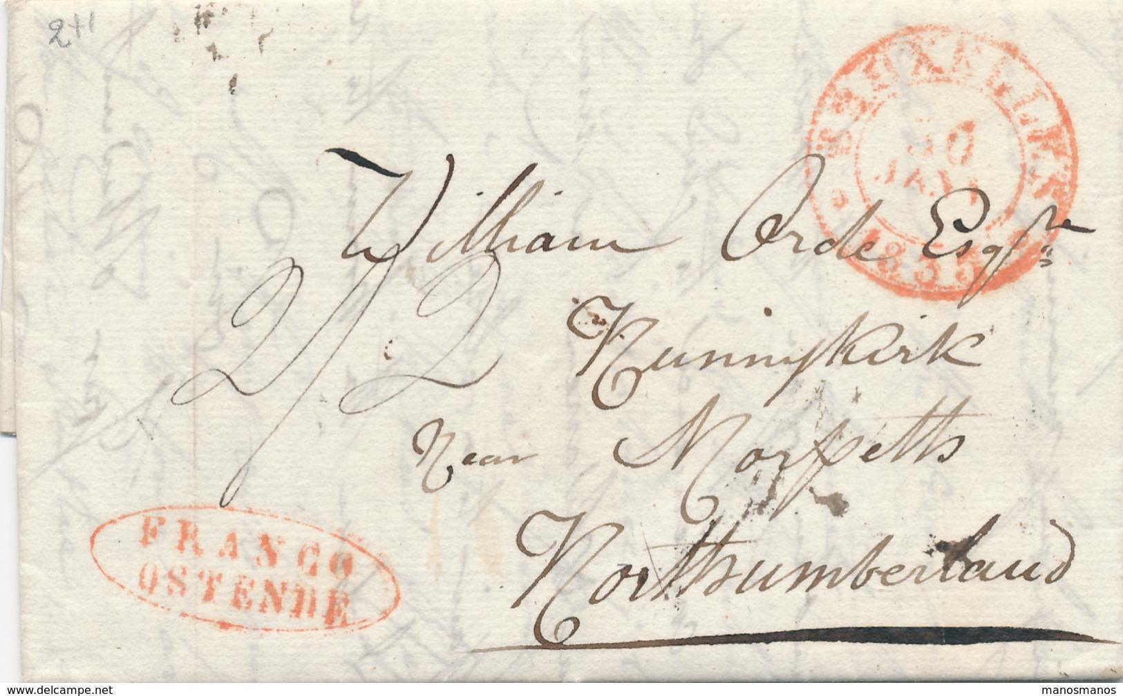 965/24 - Précurseur IXELLES Via BRUXELLES 1835 Vers L' Angleterre - Ovale Rouge FRANCO OSTENDE - Port 8 Décimes Au Verso - 1830-1849 (Belgique Indépendante)