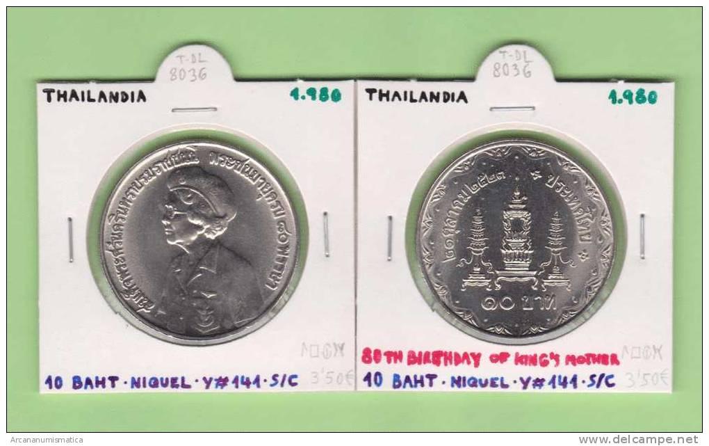 """TAILANDIA   10  BATH  1.980  NIQUEL   Y#141   """"80th Birthday Of King´s Mother""""  SC/UNC      DL-8036 - Tailandia"""