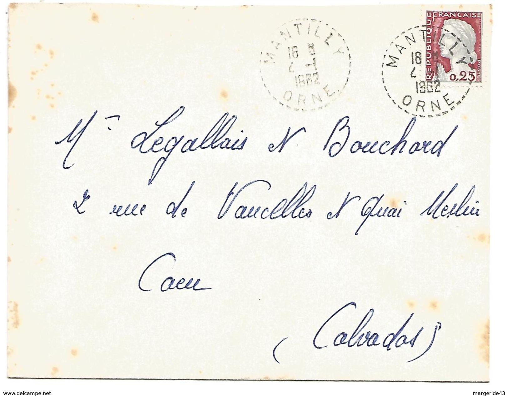 OBLITERATION DE MANTILLY (ORNE) DU 4/1/1962 - Marcophilie (Lettres)