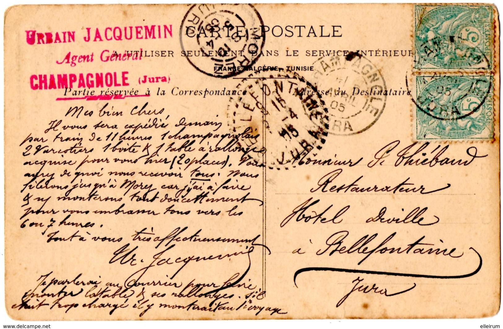 """PUBLICITE.COMPAGNIE D'ASSURANCE """" LA CELERITE """" AU VERSO CACHET AGENT GENERAL à CHAMPAGNOLE (39) 1905. - Publicité"""