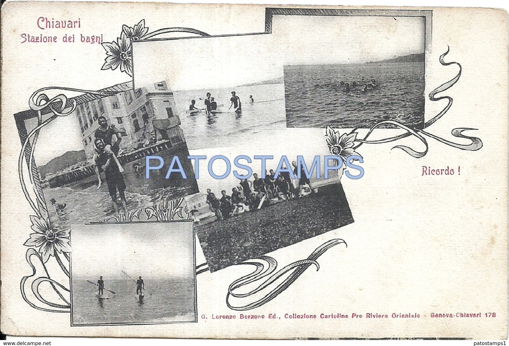 66728 ITALY CHIAVARI GENOVA STATION BATHS MULTI VIEW POSTAL POSTCARD - Non Classés