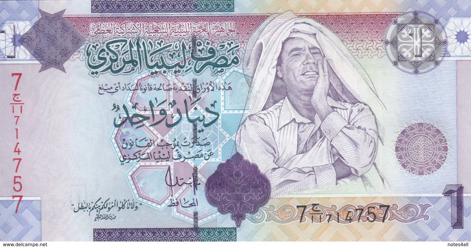 LIBYA 1 DINAR 2009 P-71 SIG/7 Bengadara UNC */* - Libye