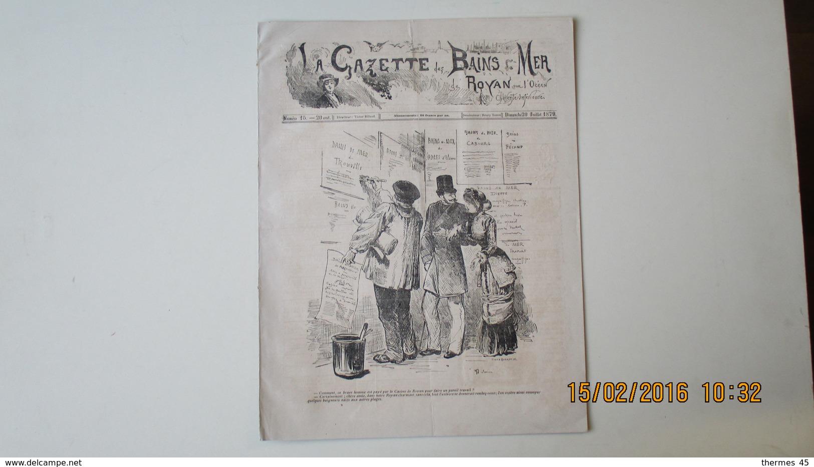 LA GAZETTE DES BAINS DE MER DE ROYAN / 20 JUILLET 1879 / N° 15 - Rhône-Alpes