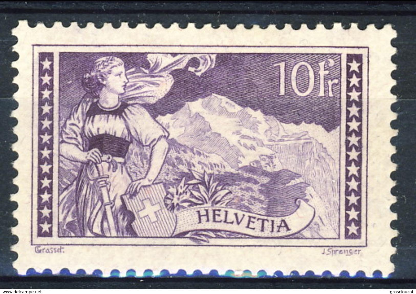 Svizzera 1914 N. 144 F. 10 Ragazza (Jungfrau) Violetto. MVLH (traccia Di Linguella Invisibile) Cat € 170 - Nuovi