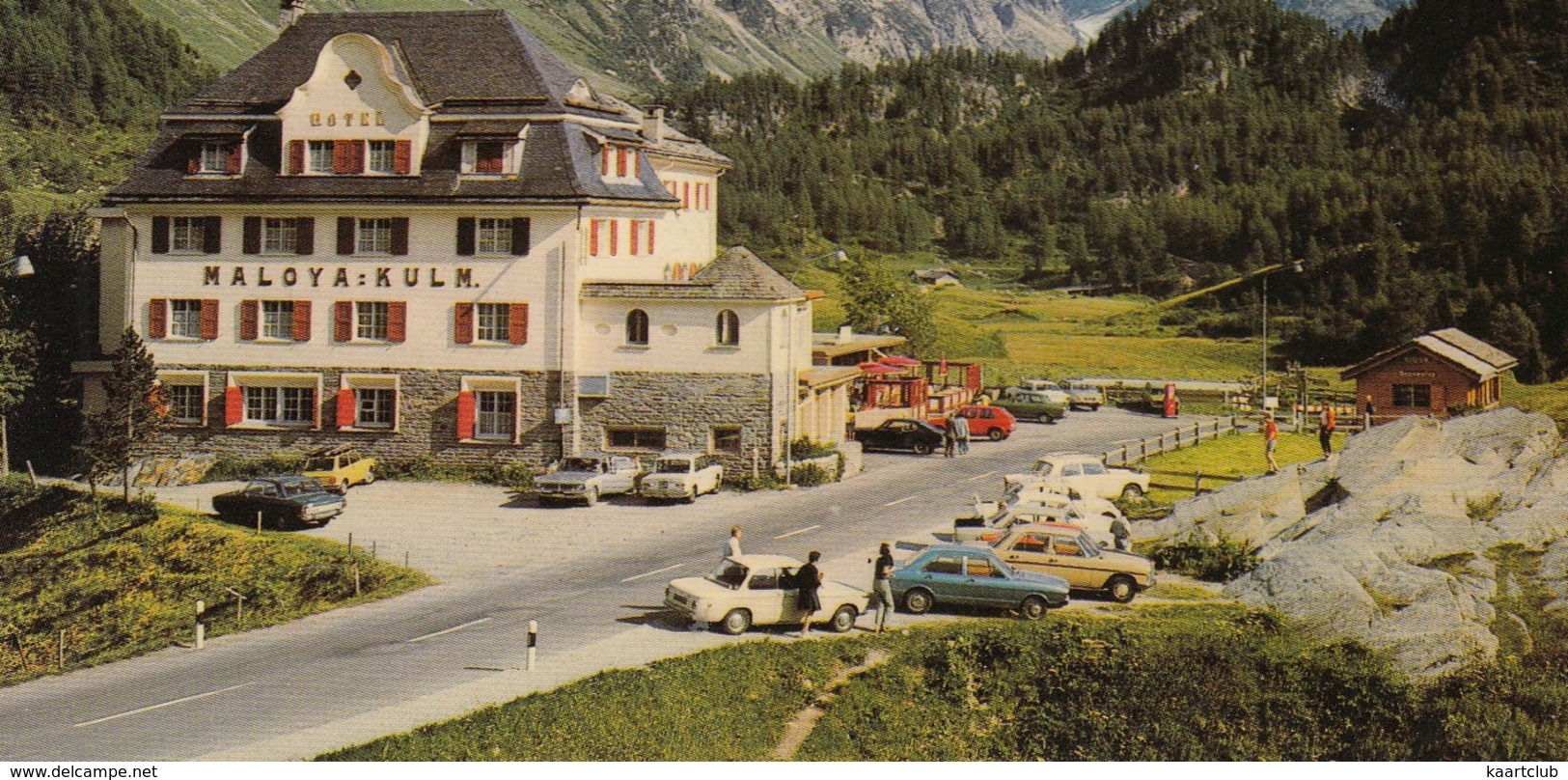 Maloja: BMW 1600-2, MERCEDES W114/15, PEUGEOT 404, VW 1200 & GOLF, FORD P5, LANCIA FULVIA - Hotel Maloya Kulm  - (CH) - Passenger Cars