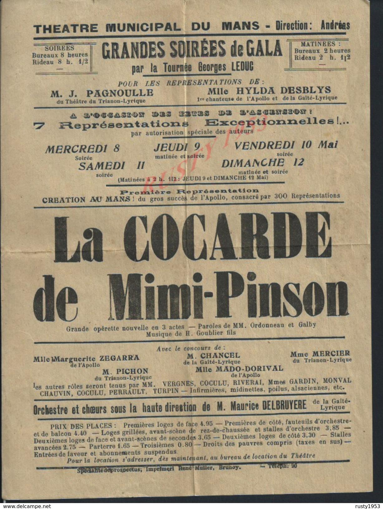 AFFICHE DU THÉATRE MUNICIPAL DU MANS GRANDE OPÉRETTE LA COCARDE DE MIMI PINSON : - Posters
