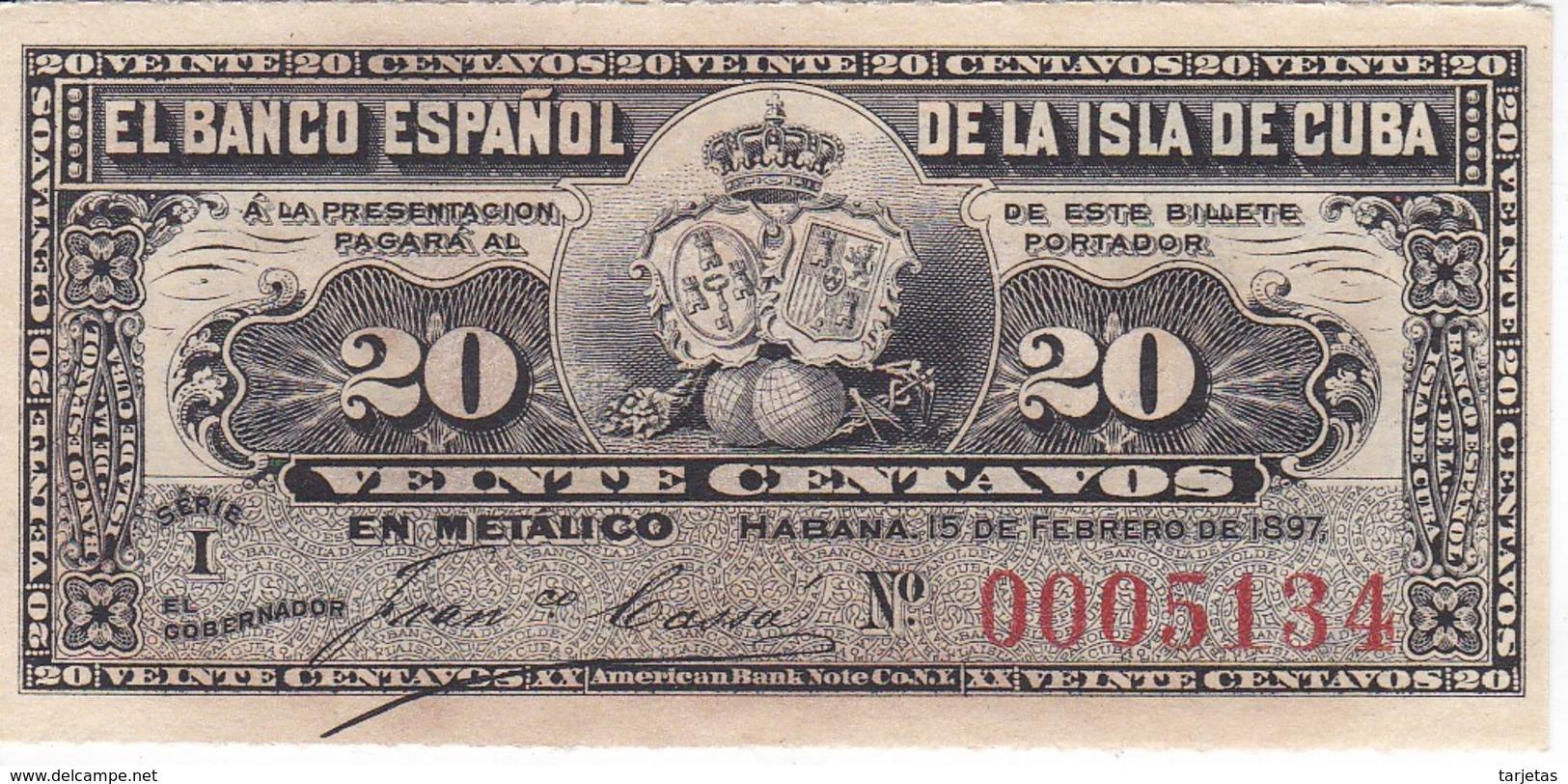 BILLETE DEL BANCO ESPAÑOL EN CUBA DE 20 CENTAVOS DEL AÑO 1897 SIN CIRCULAR-UNCIRCULATED (BANKNOTE) - Cuba