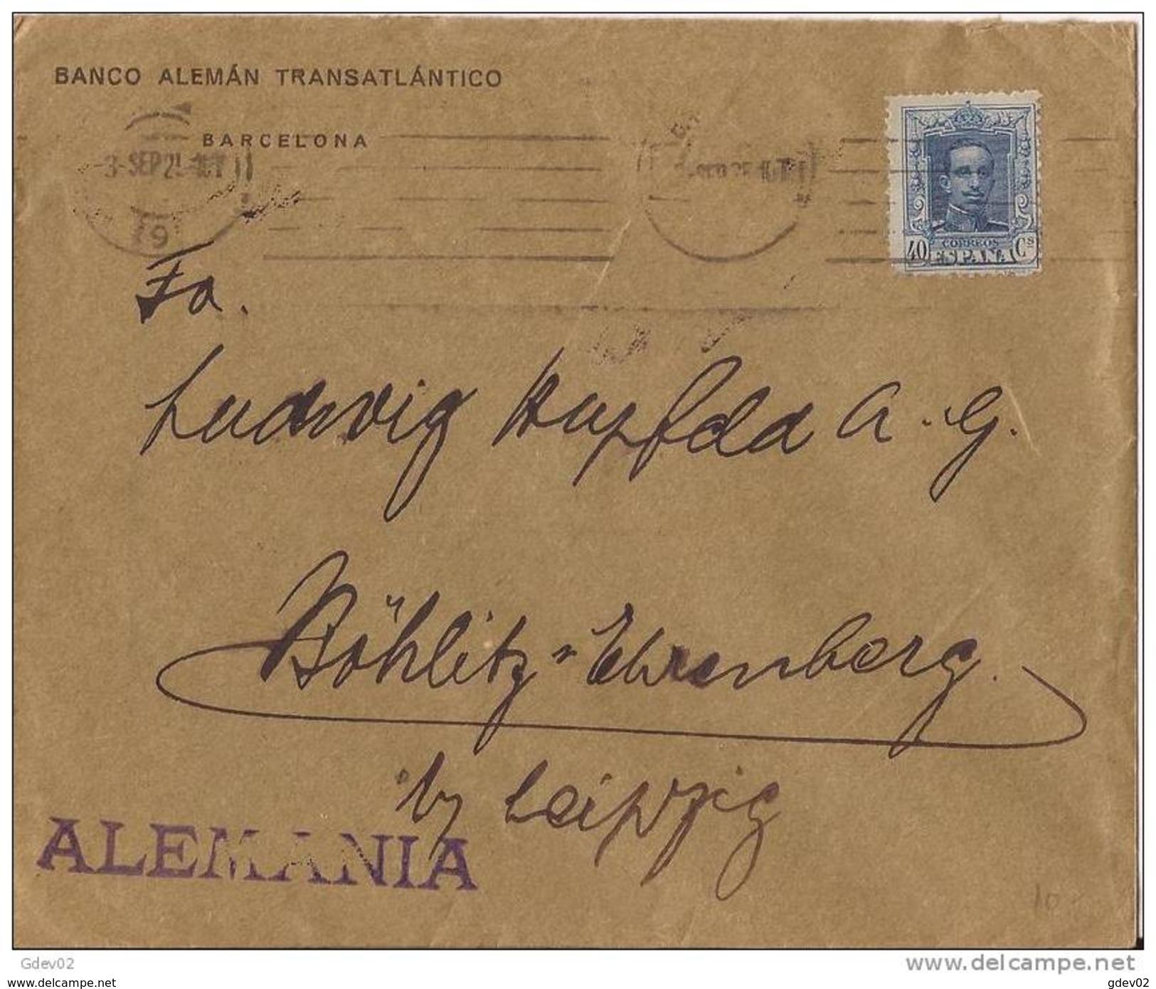 ESCA319CPA-LC241TOT.CARTA DE BARCELONA A  ALEMANIS(Leipcig). Banco Aleman Trasatlantico.1925. (Ed 319).MUY BONITA - Sellos