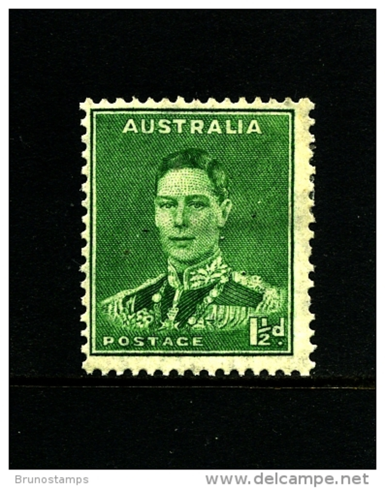 AUSTRALIA - 1941  DEFINITIVE  1 1/2 D  GREEN  WMK  PERF. 14 X 15  MINT  SG 183 - 1937-52 George VI