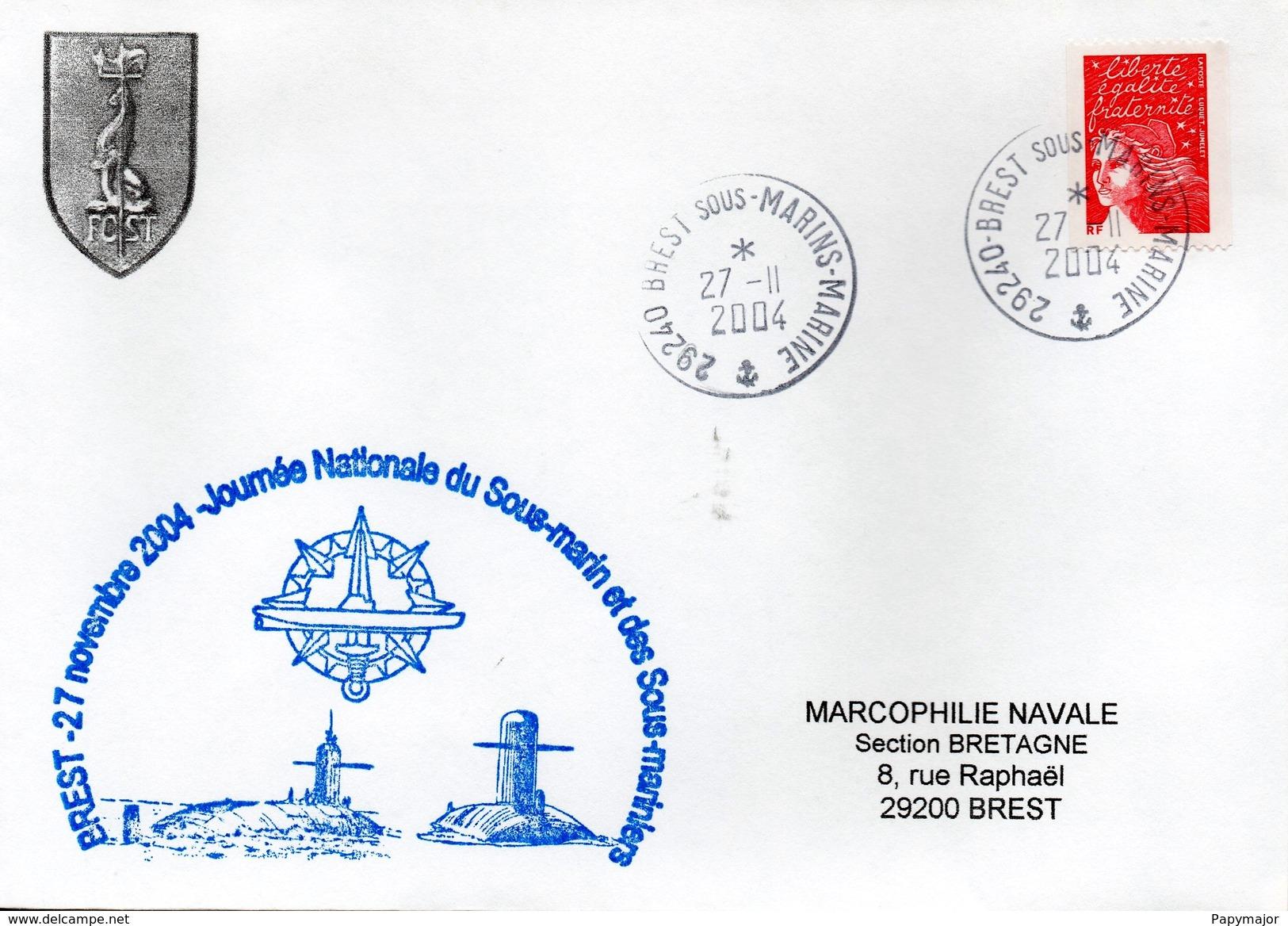 Marcophilie Navale - Enveloppe - Journée Nationale Du Sous-marin - Brest 27 Novembre 2004 - Boten