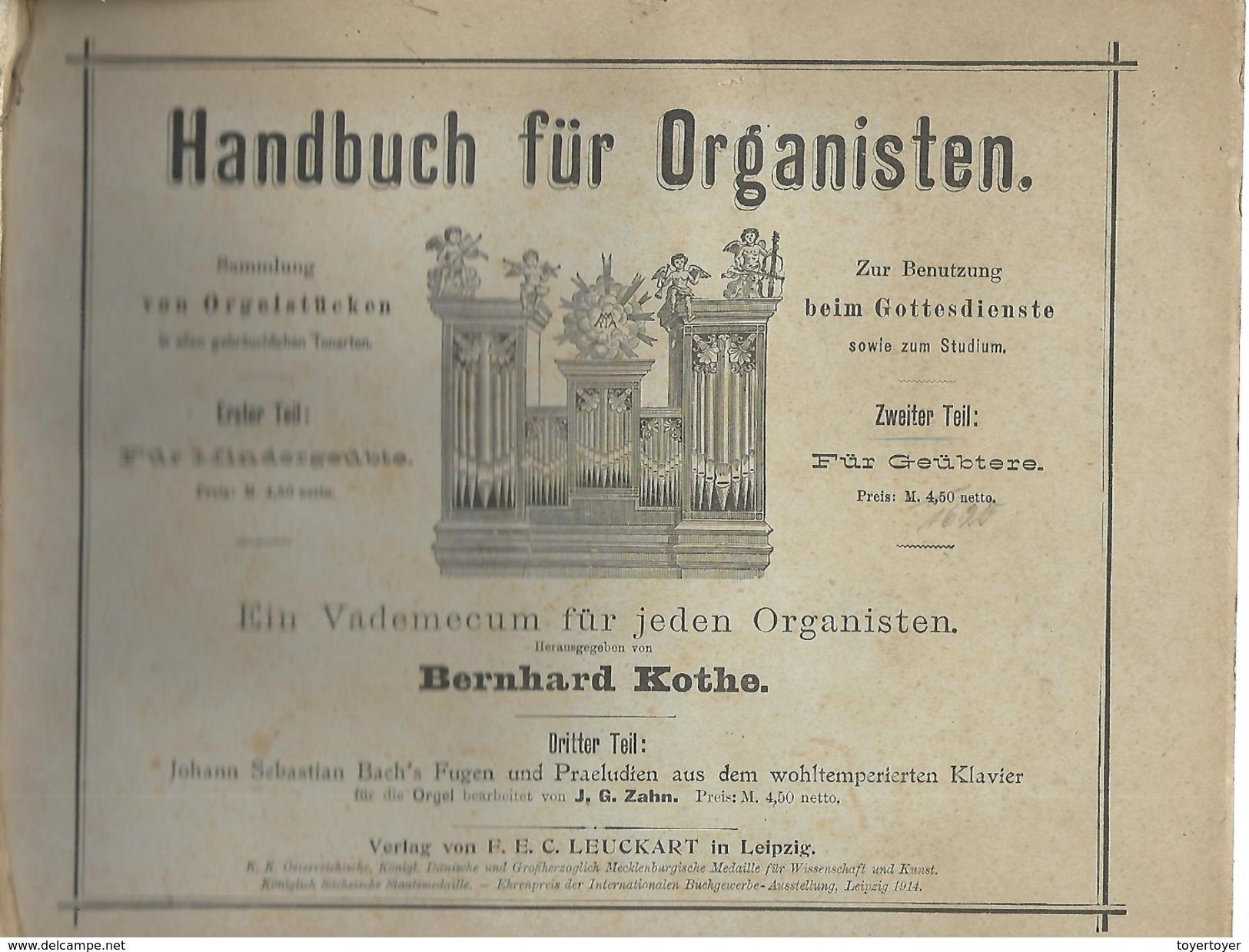 D 212   Partitions En Allemand Handbuch Für Organisten - Partitions Musicales Anciennes