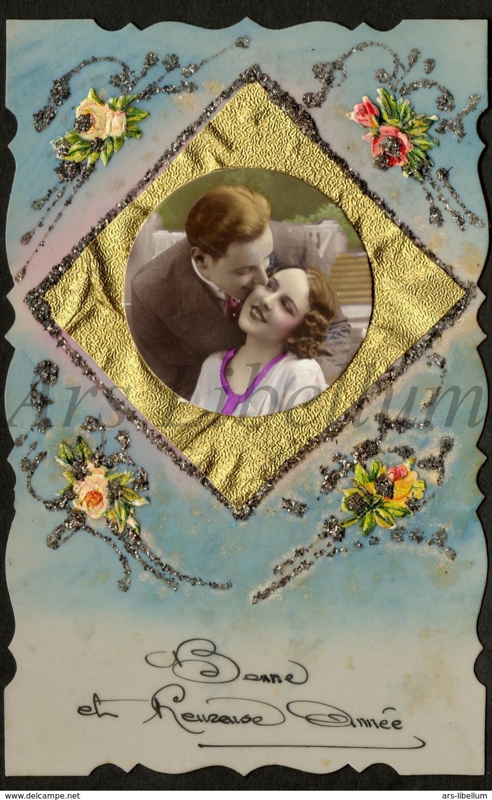 Postcard / Celluloid / Couple / Romantique / Bonne Et Heureuse Année / 1938 / 2 Scans - Supplies And Equipment