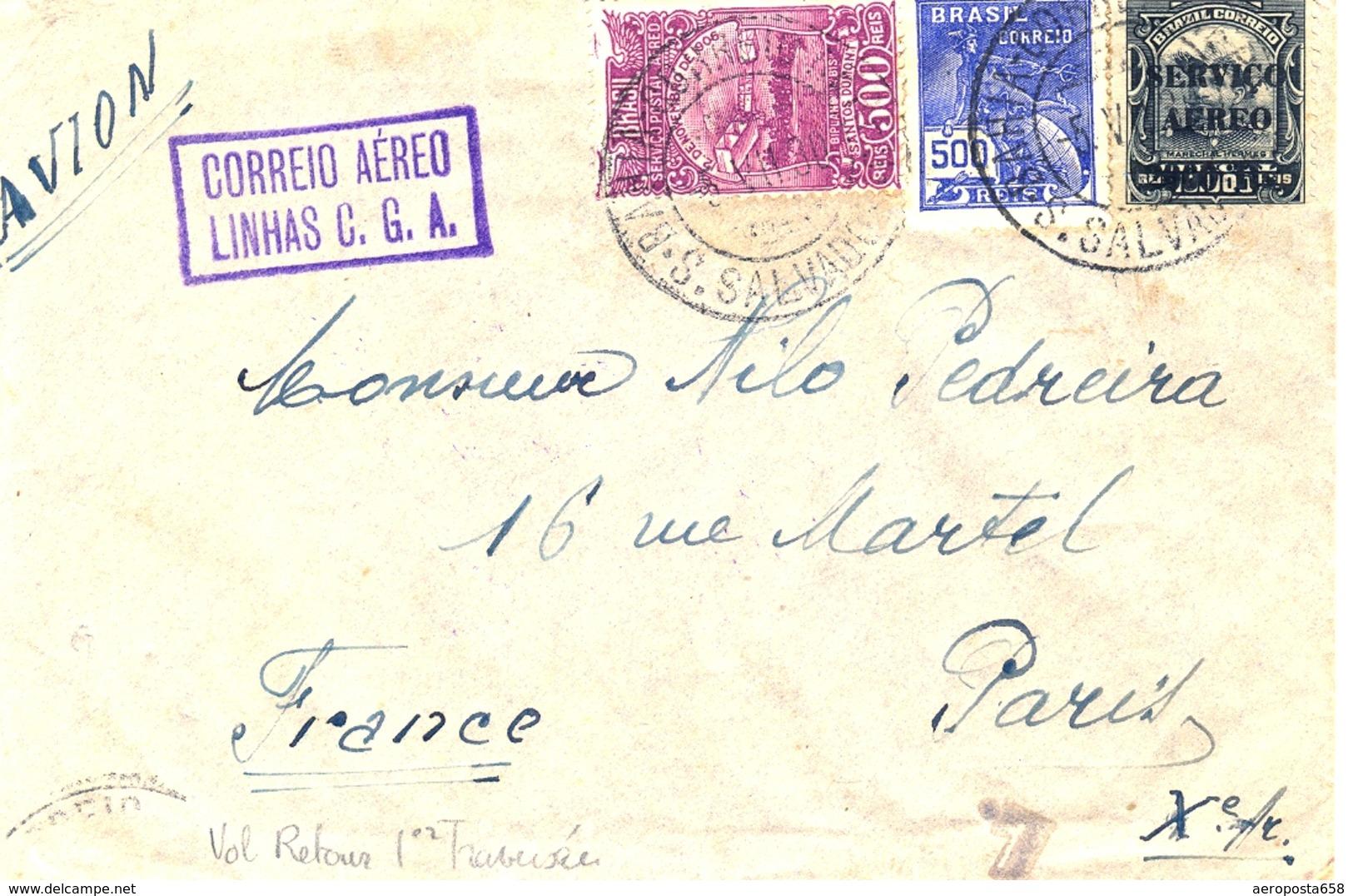 Cie Gle Aéropostale 1930 Retour Mermoz 1ere Traversée - Sonstige