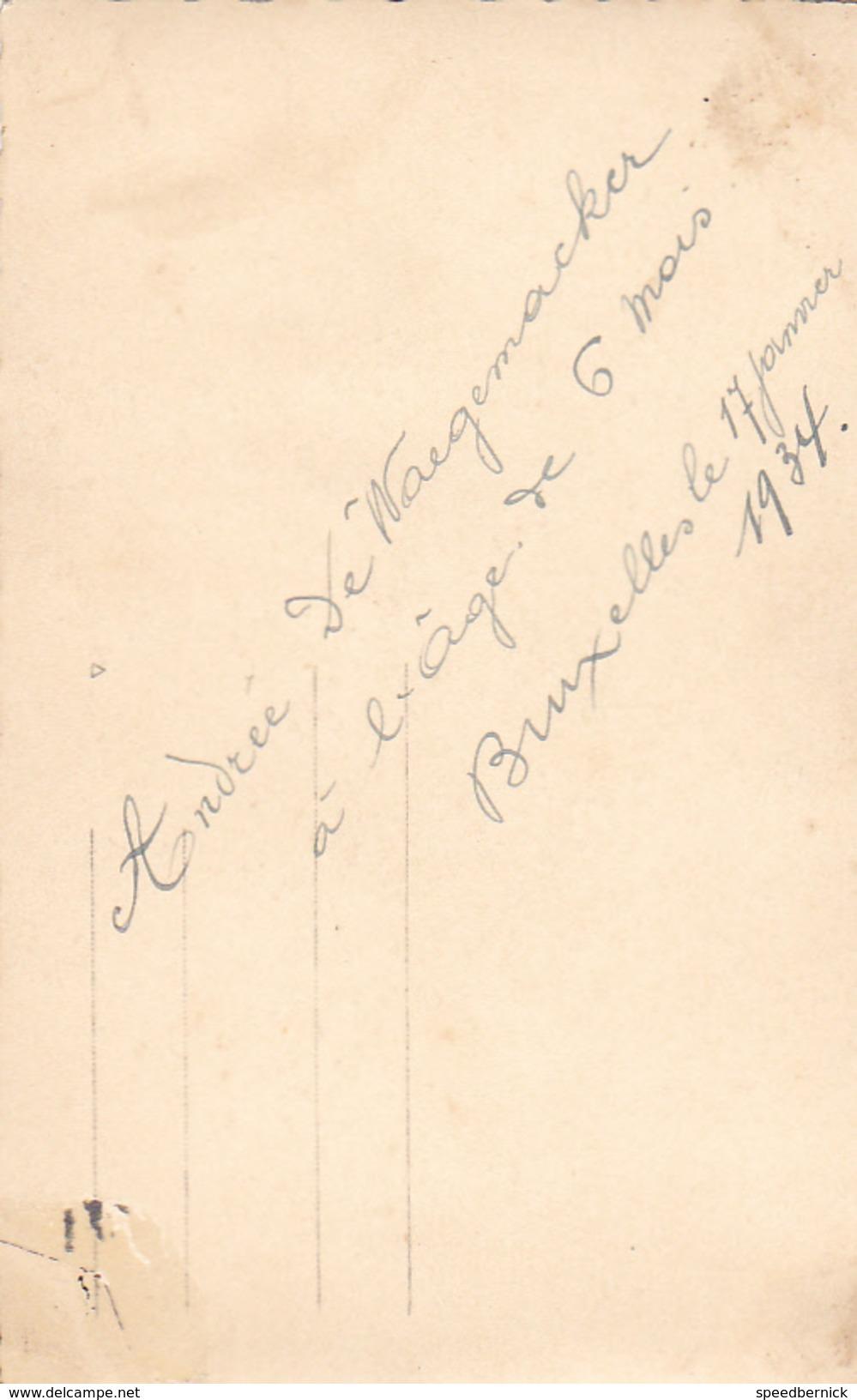 26031 Carte Photo -enfant  Bébé Baby Tout Nu ! Coussin -Andrée Waegemacker 1934 Bruxelles Belgique - Bébés