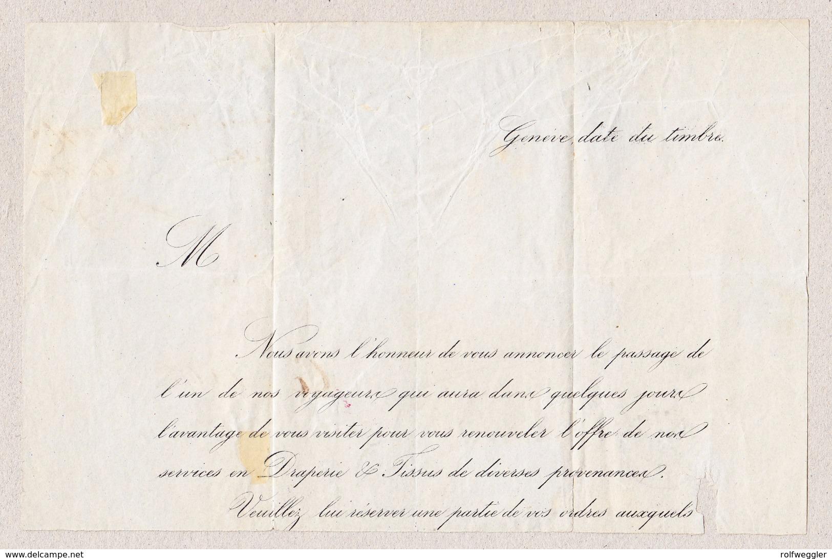 Schweiz NE St Aubin 1863-01-29 Fingerhutstempel Auf Falt-Teilbrief Nach Porrentruy Mit 2Rp Strubel (etwas Angeschnitten) - 1854-1862 Helvetia (Non-dentelés)