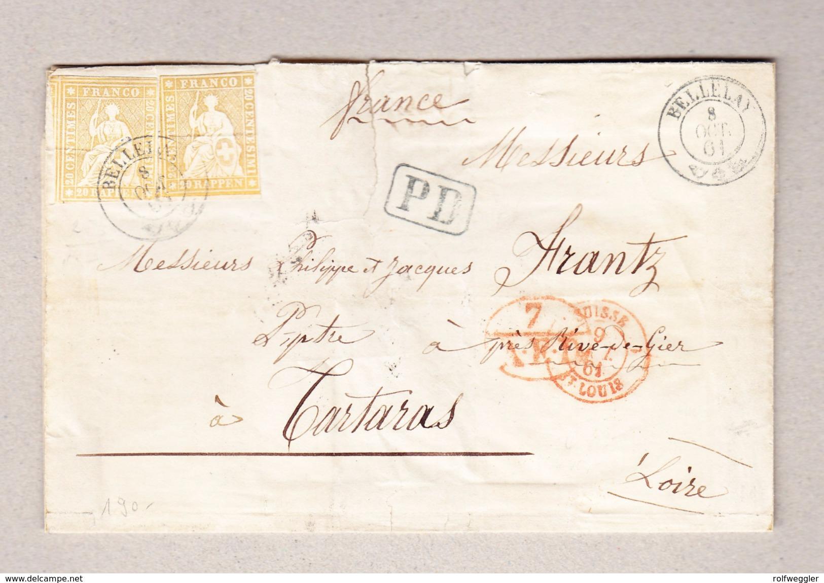 Schweiz Bellelay 8.10.1861 Briefteil Ohne Inhalt Nach Tartaras Frankreich Mit 2 X 20Rp Strubel - Lettres & Documents