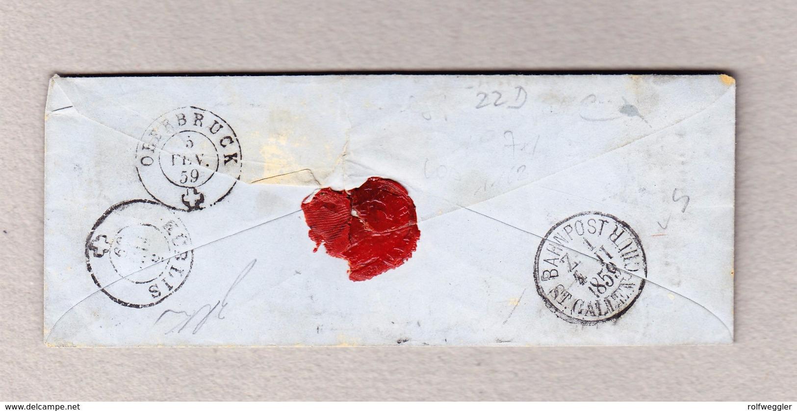 Schweiz 1859 Eichberg Balkenstempel, Altstädten 3.2.1959 Brief Nach Davos Mit 3 X 5Rp Strubel - 1854-1862 Helvetia (Non-dentelés)