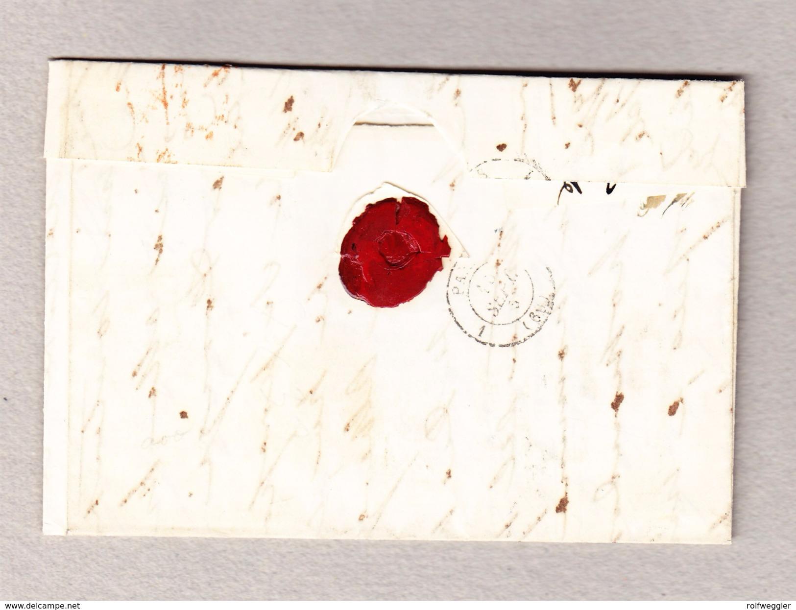 Schweiz 1854 Strubel 10, 20, 30Rp Zu# 23A, 25B, 26Aa Auf Faltbrief Nach Paris Attest Rellstab Bitte Lesen - Lettres & Documents