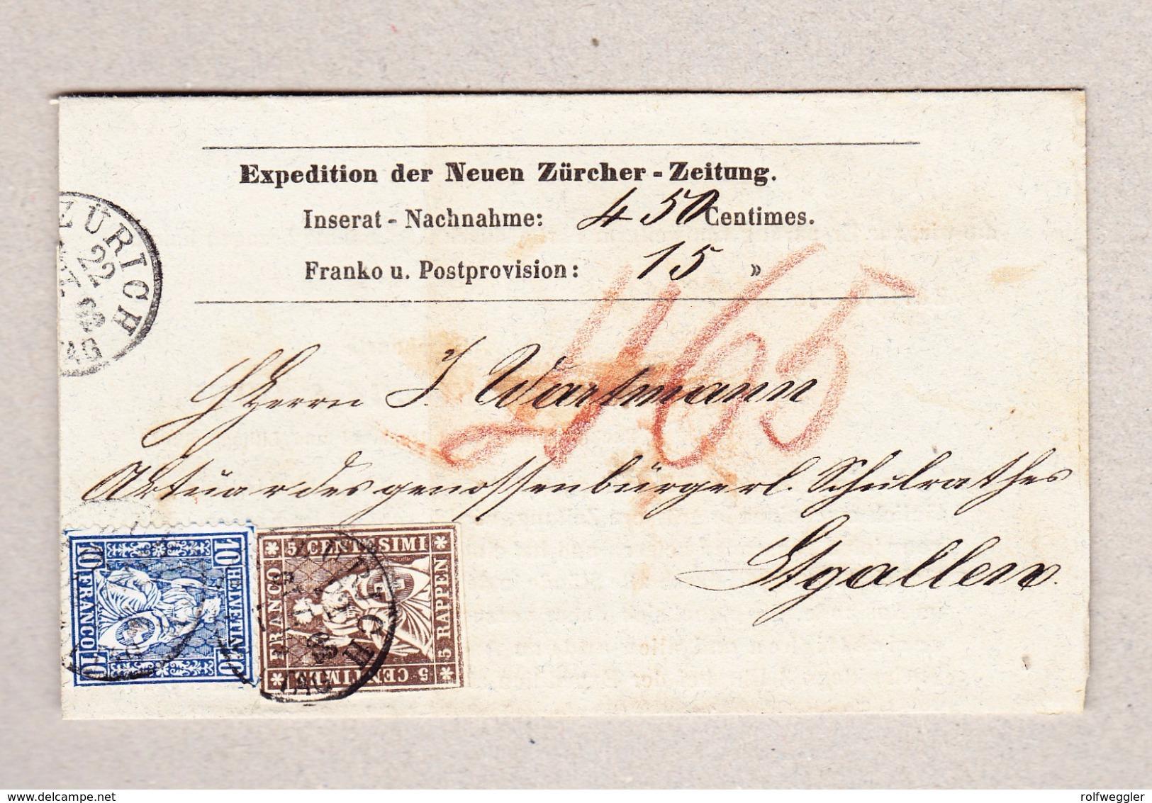 Schweiz 1862 Mischfrankatur Strubel-Sitzende Gezähnt Und Ungezähnt Auf NN Der Zürcher Zeitung Gesendet Nach St Gallen - 1854-1862 Helvetia (Non-dentelés)