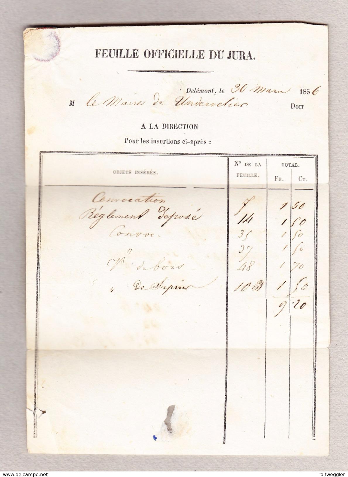 Schweiz Strubel 5 Und 15Rp Zu#22F, 24F  Nachnahme Brief Delèmont 5.1.1957 Nach Untervelier Attest V.d.Weid - 1854-1862 Helvetia (Non-dentelés)