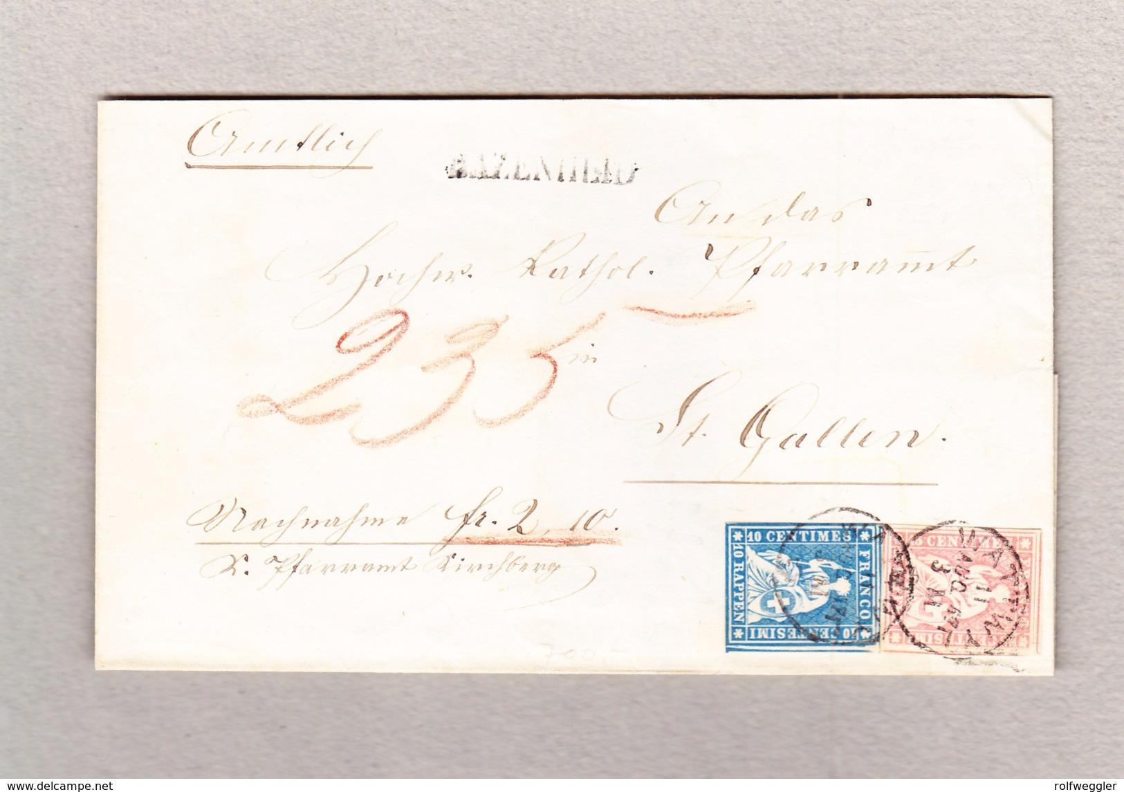 Schweiz 10Rp Zu#23cPf1 Und 15Rp Zu#24D Strubel Bazenheid Balkenstempel Wattwyl 11.8.1957 Brief Nach St Gallen - Lettres & Documents