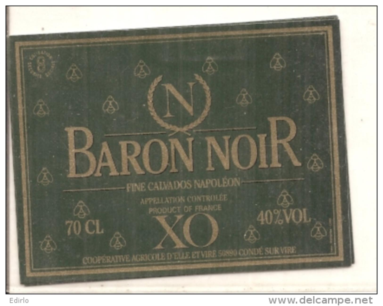 étiquette -1970/1980* -Baron Noir XO Fine Calvados Napoléon - Coopérative De Condé Sur Vire - Rode Wijn