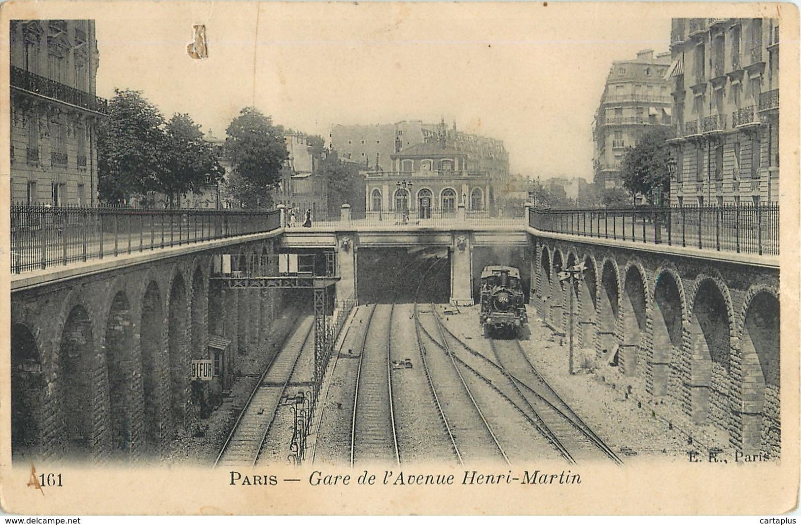 PARIS GARE DE L AVENUE HENRI MARTIN CHEMIN DE FER TRANSPORT TRAIN LOCOMOTIVE - Métro Parisien, Gares