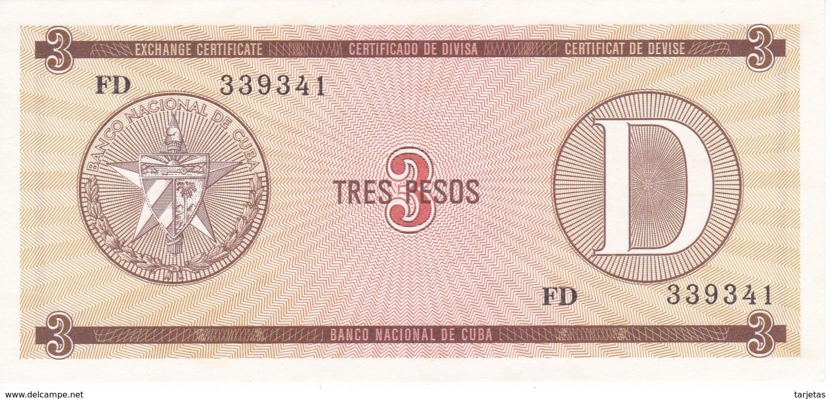 BILLETE DE CUBA DE 3 PESOS SERIE D SIN CIRCULAR-UNCIRCULATED   (BANKNOTE-BANK NOTE) - Cuba