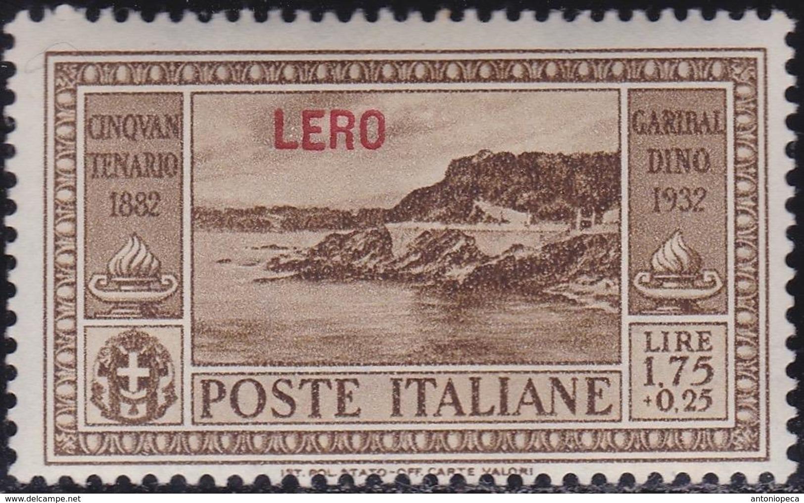 COLONIE ITALIANE EGEO LERO 1932 Garibaldi L.1,75 Nuovo Con TL - Aegean (Lero)