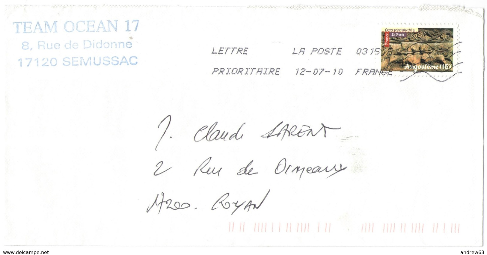 FRANCIA - France - 2010 - Lettre Prioritaire 20g Art Roman Angoulême (16) - Viaggiata Da 03151A Per Royan, France - Francia
