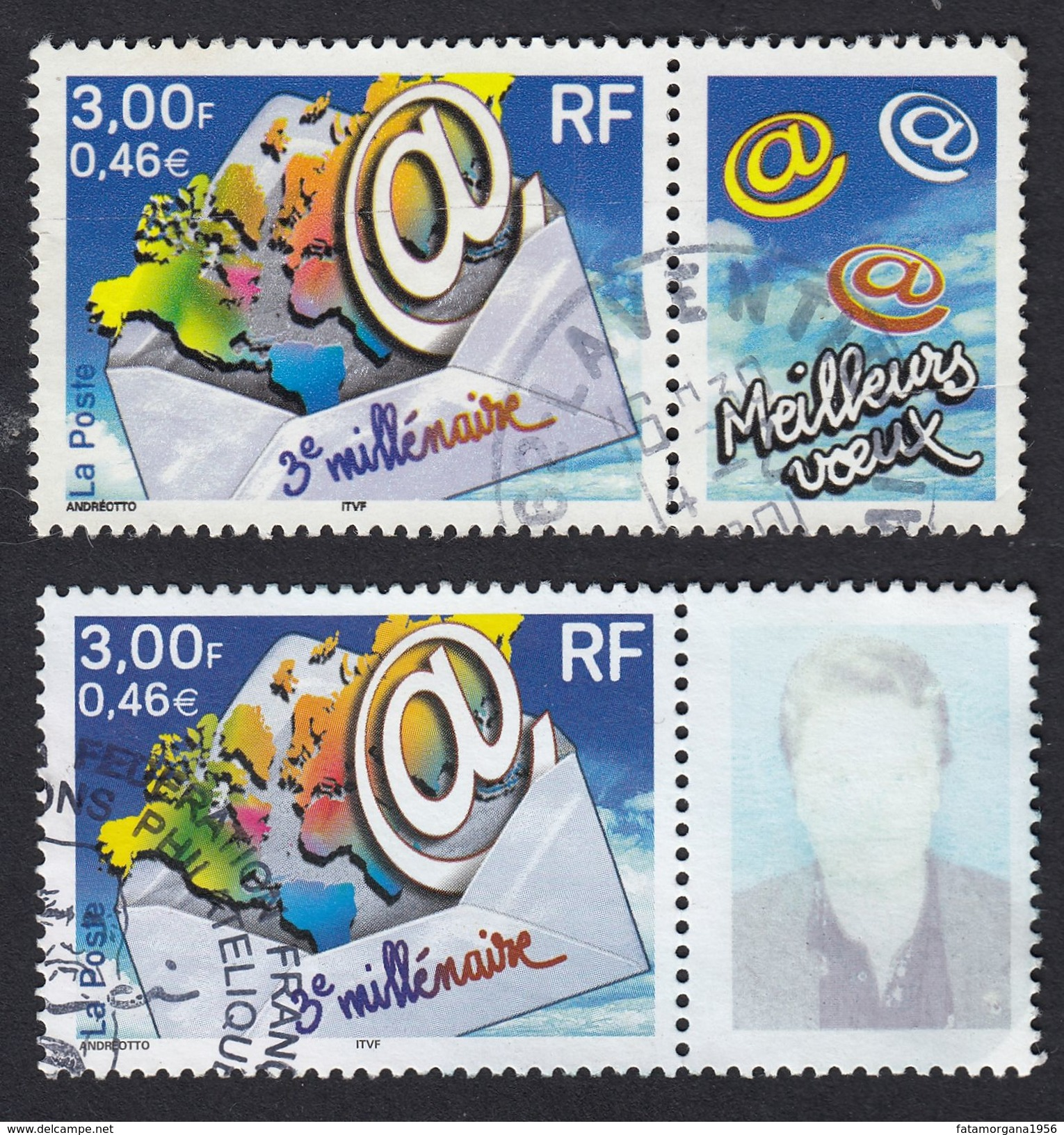 "FRANCE Francia Frankreich - 2000 - 2 Valori Usati ""Terzo Millennio"": Yvert 3365 - Frankreich"