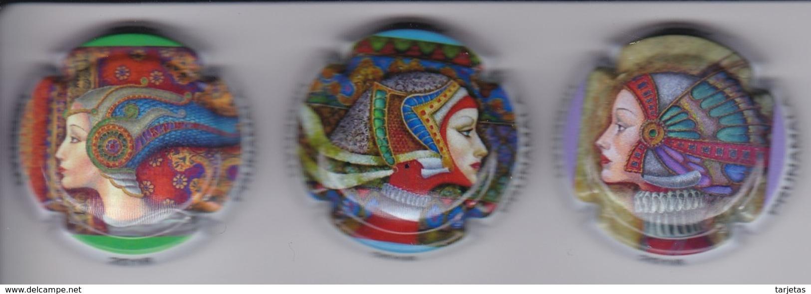 LOTE DE 3 PLACAS DE CAVA HEREDAD PRUNAMALA (CAPSULE) MUJER-WOMAN - Placas De Cava