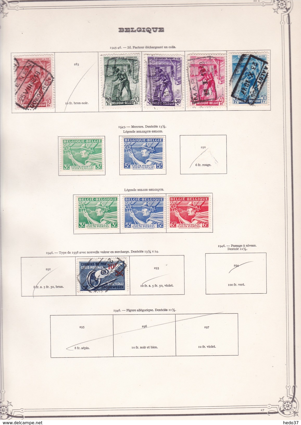 Belgique Colis Postaux - Collection Vendue Page Par Page - Timbres Oblitérés / Neufs */** - B/TB - Bahnwesen