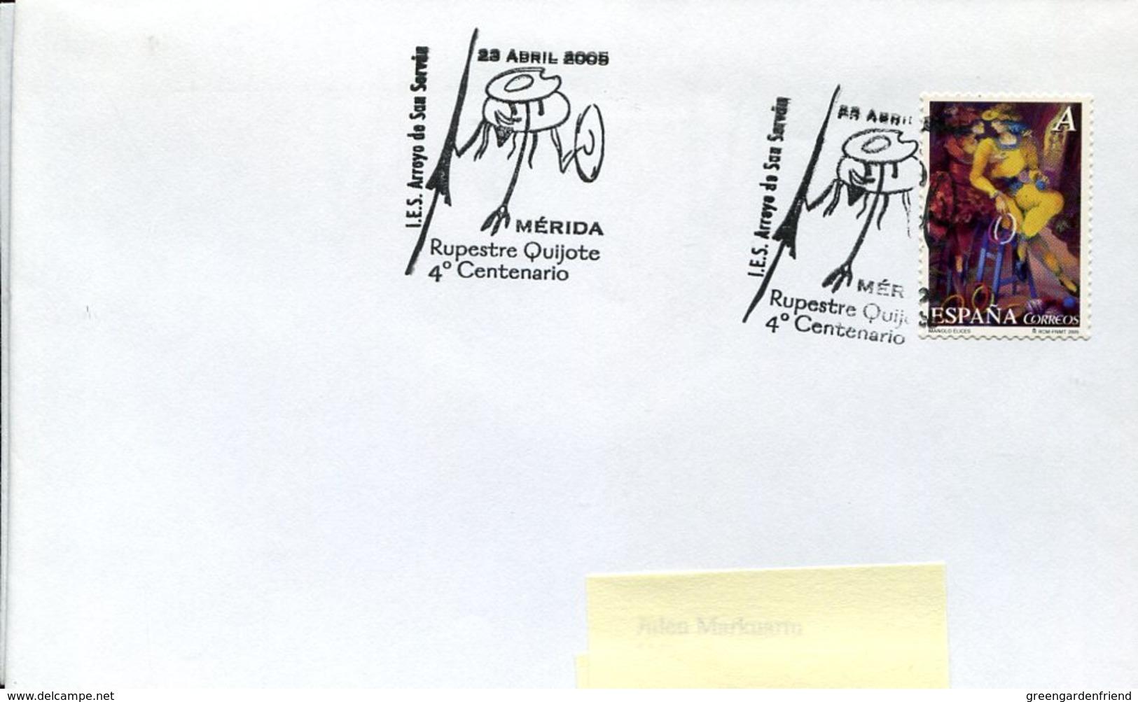 18844 Spain, Special Postmark Merida 2005,  Miguel De Cervantes , Don Quixote - Scrittori