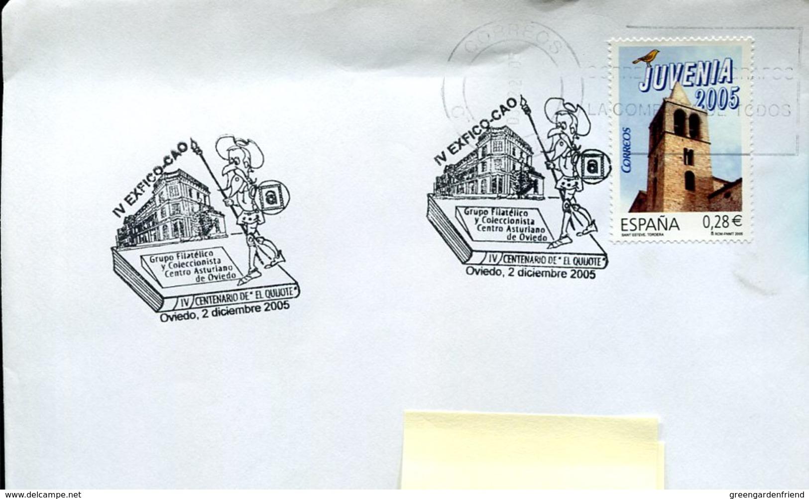 18853 Spain, Special Postmark Oviedo 2005,  Miguel De Cervantes , Don Quixote - Ecrivains