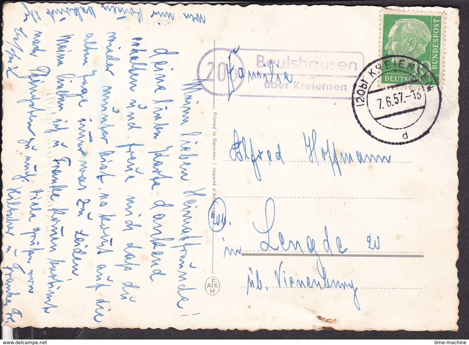 "Postkarte Pfingsten , Verlag AFKH ( Krüger ) Landpoststempel "" Beulshausen über Kreiensen "" 1957 - Pfingsten"