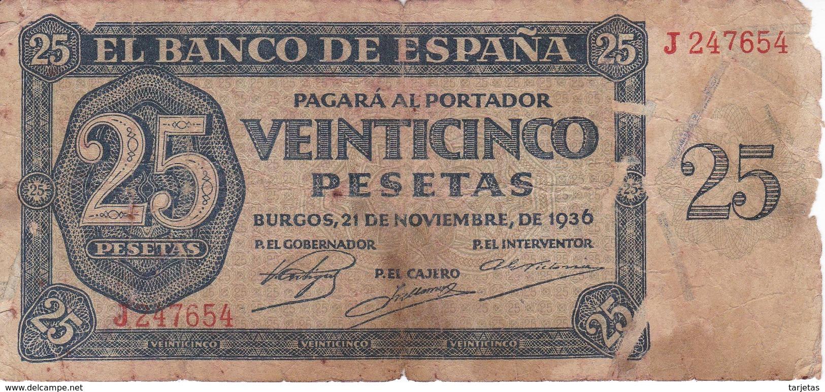 BILLETE DE ESPAÑA DE 25 PTAS DEL 21/11/1936 SERIE J CALIDAD  RC (BANKNOTE) - 25 Pesetas