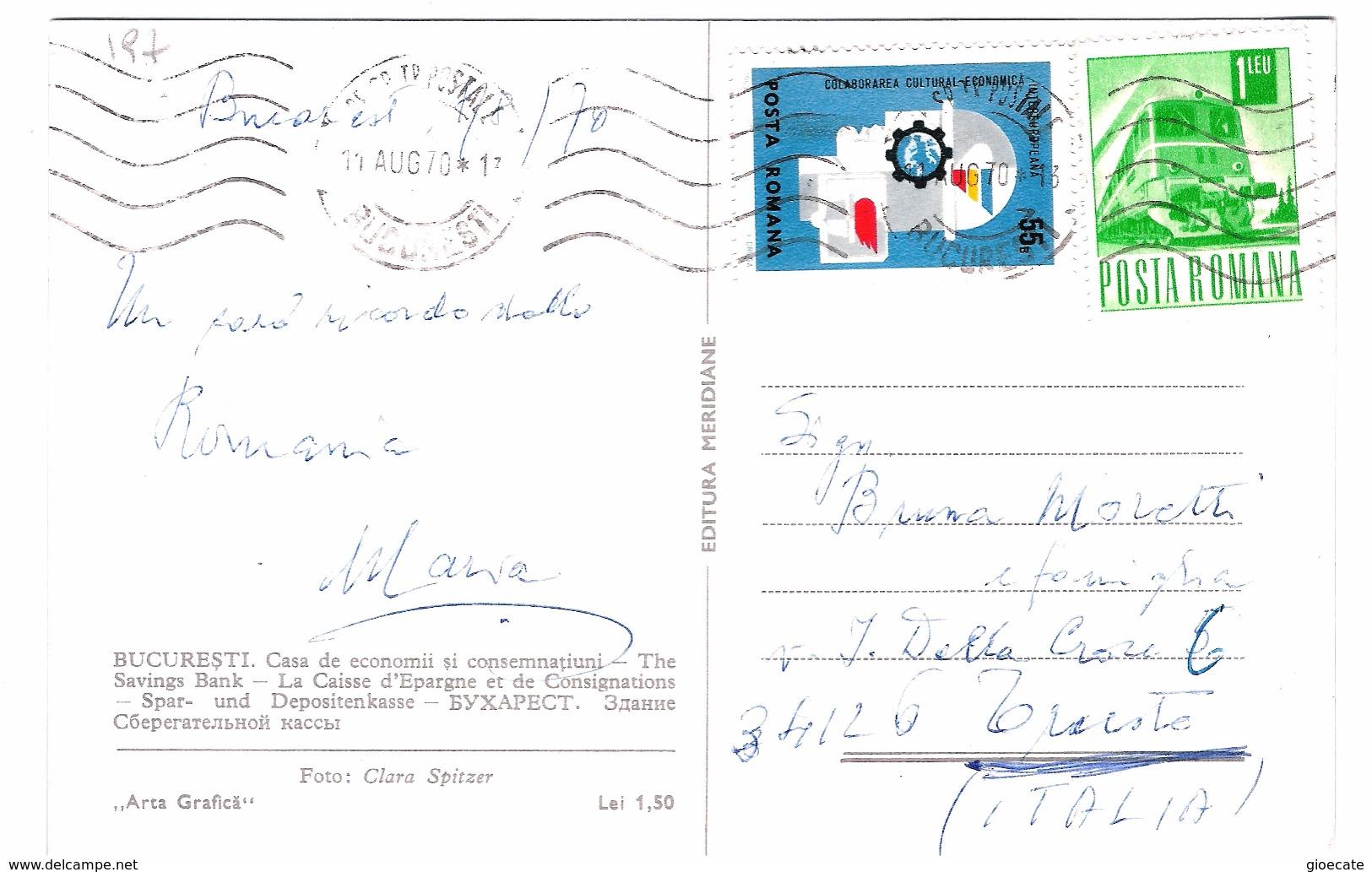 BUCHAREST - The Savings Bank Palace - VIAGGIATA 1970 - (197) - Romania