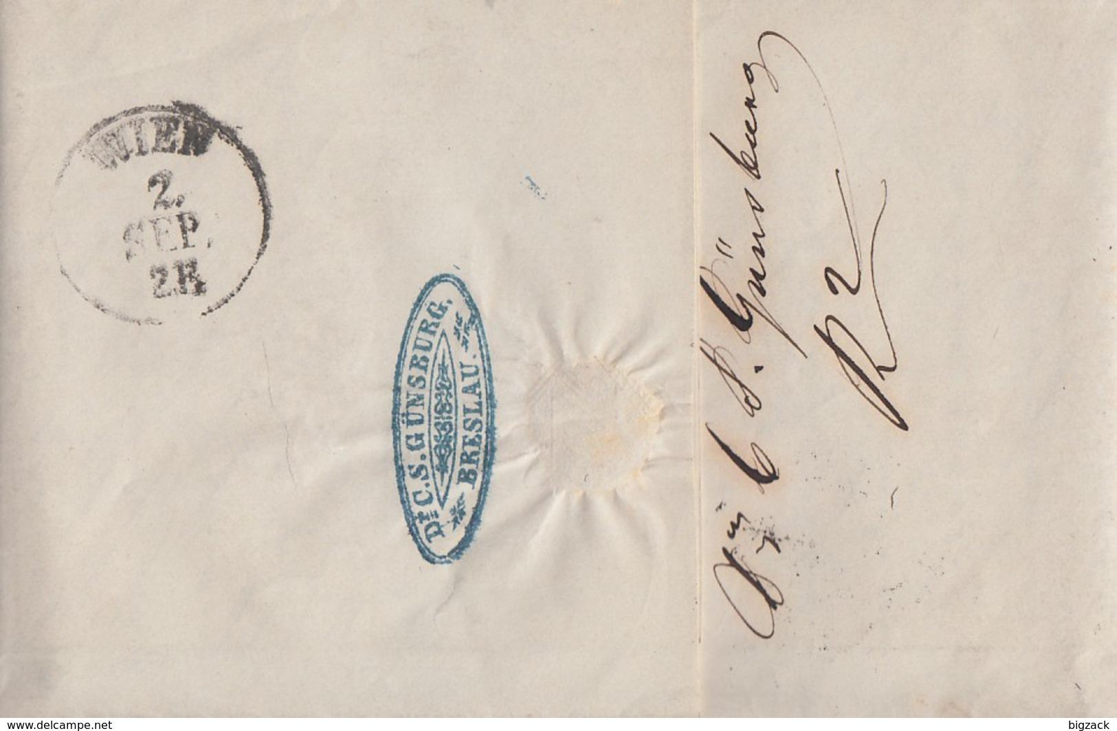 Brief K2 Breslau 1.9. Gelaufen Nach Wien Mit Inhalt - Preussen