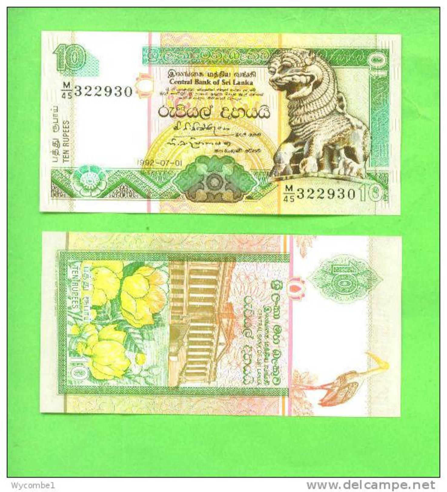 SRI LANKA - 1992/10 Rupees/Lion Statue UNC - Sri Lanka
