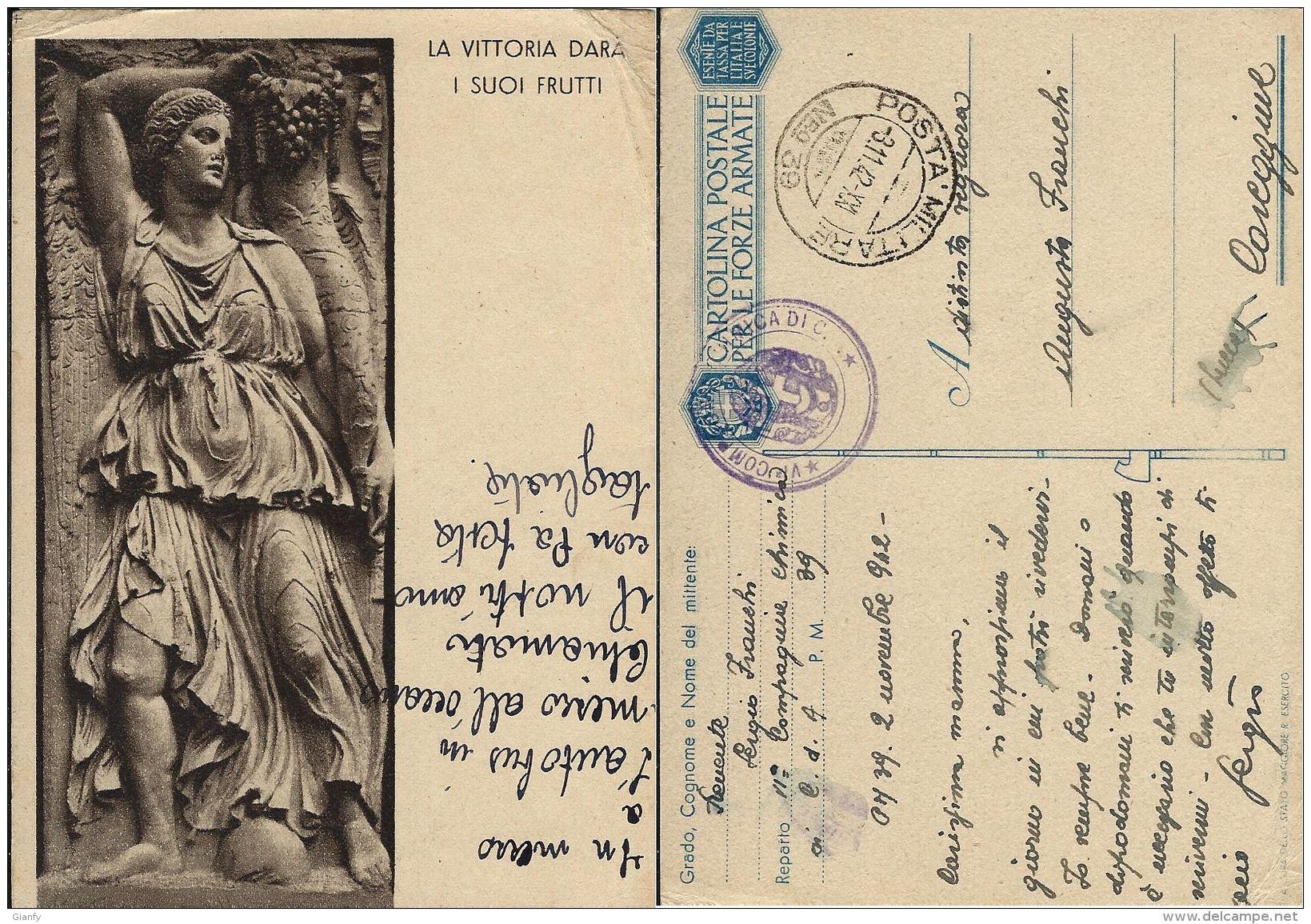 FRANCHIGIA WWII POSTA MILITARE 39 1942 RAGUSA CROAZIA X CAREGGINE CHIMICA - Military Mail (PM)