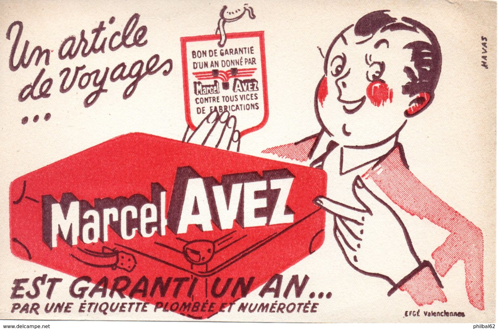 Buvard Maroquinerie Marcel Avez, Articles De Voyage. - Carte Assorbenti