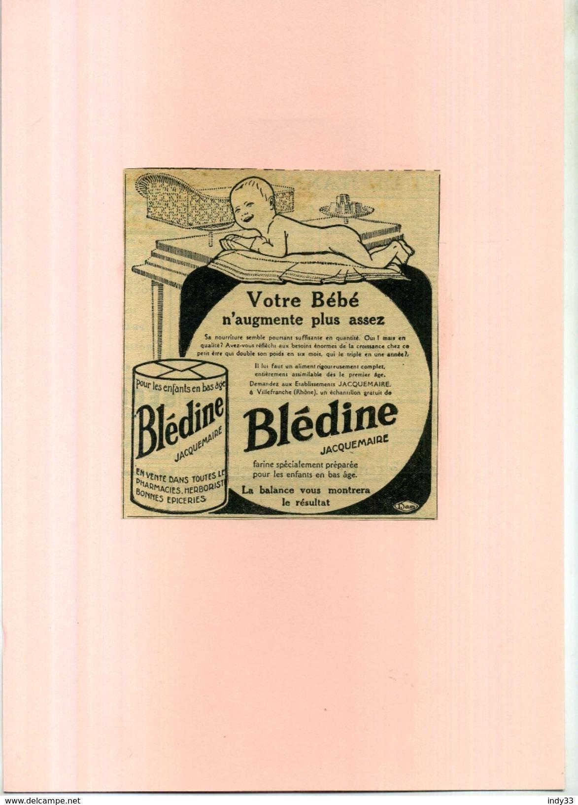 FRANCE . PUB. BLEDINE JACQUEMAIRE .ANNEES 1920 . DECOUPEE ET COLLEE SUR PAPIER . - Publicités