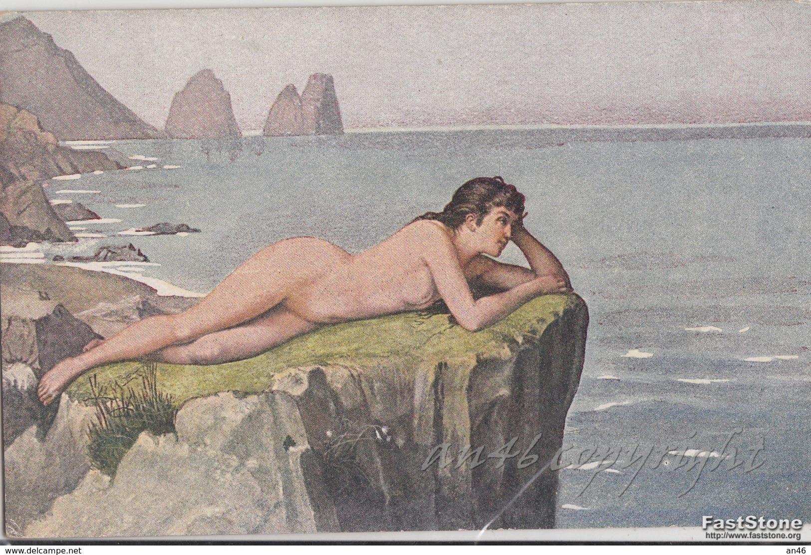 "NU_NUE_NUS_NUDE_NAKED WOMAN-NUDI ARTISTICI-""Traumerei"" S.WAGNER Pinxit-Serie N°1522 -Original D'epoca 100%- - Pittura & Quadri"