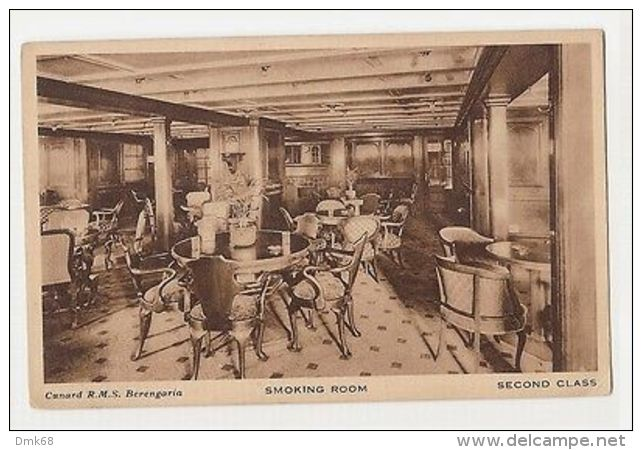 BOAT CUNARD R.M.S. BERENGARIA - SMOKING ROOM - SECOND CLASS - 1920s/30s ( 1062 ) - Transportation