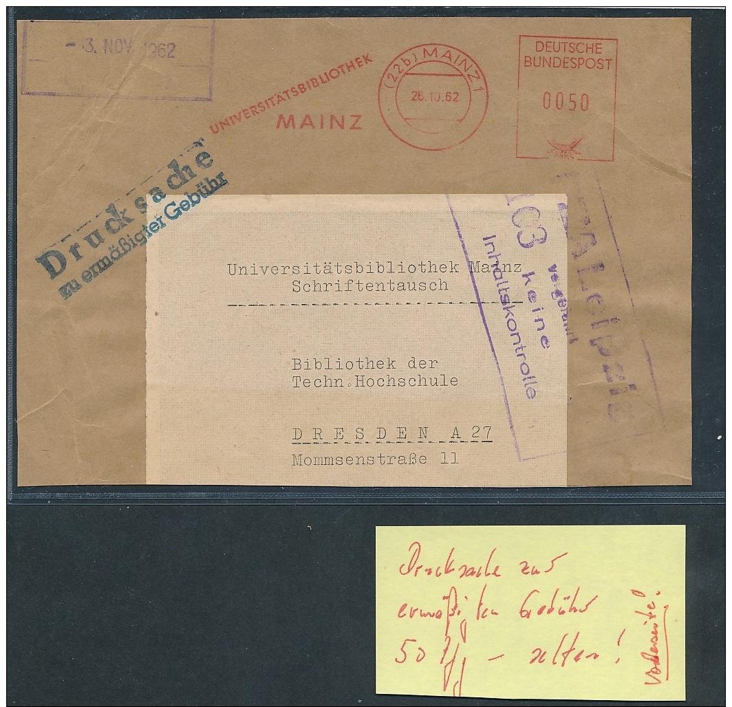 Bund Drucksache Ermäßigte Gebühr  Vorderseite - Beleg    ( Ze4120   ) Siehe Foto - [7] Repubblica Federale