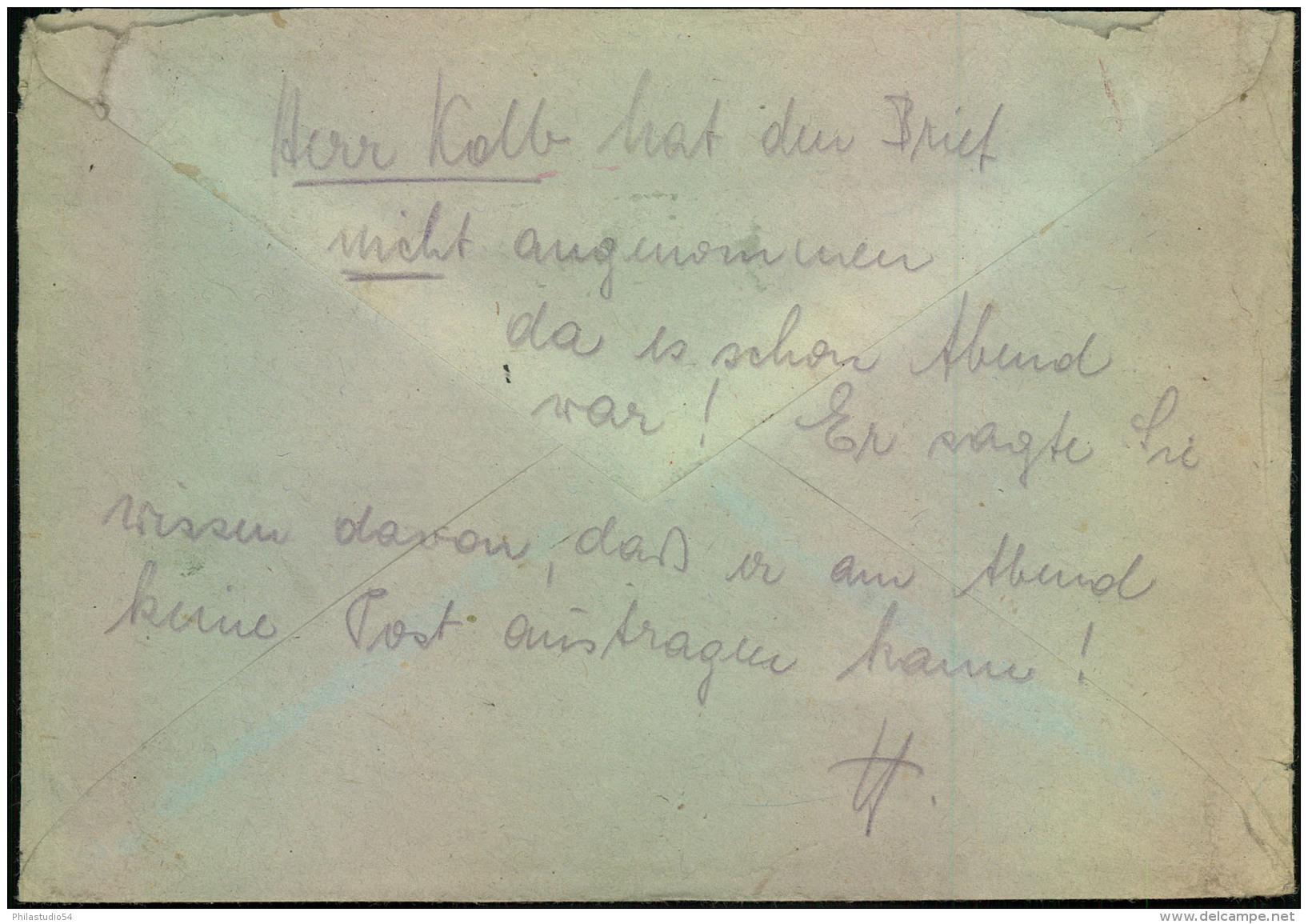 "1945, Feldpost-Einschreiben """"2. Admiral Der Nordsee"""" Ab BUXTEHUDE An """"Ortsgruppenleiter Der NSDAP"""" In Burglengenfeld - Alemania"