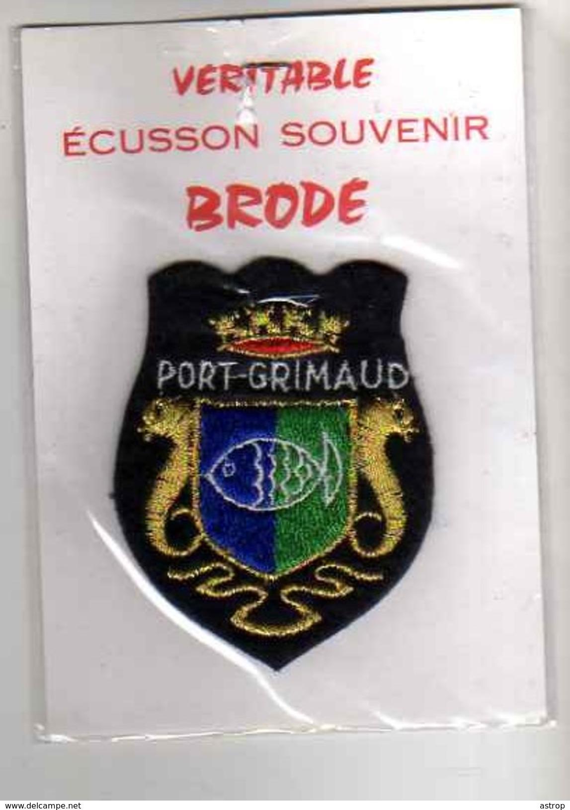 ECUSSON Tissu Neuf, Feutrine Brodee, PORT GRIMAUD - Ecussons Tissu