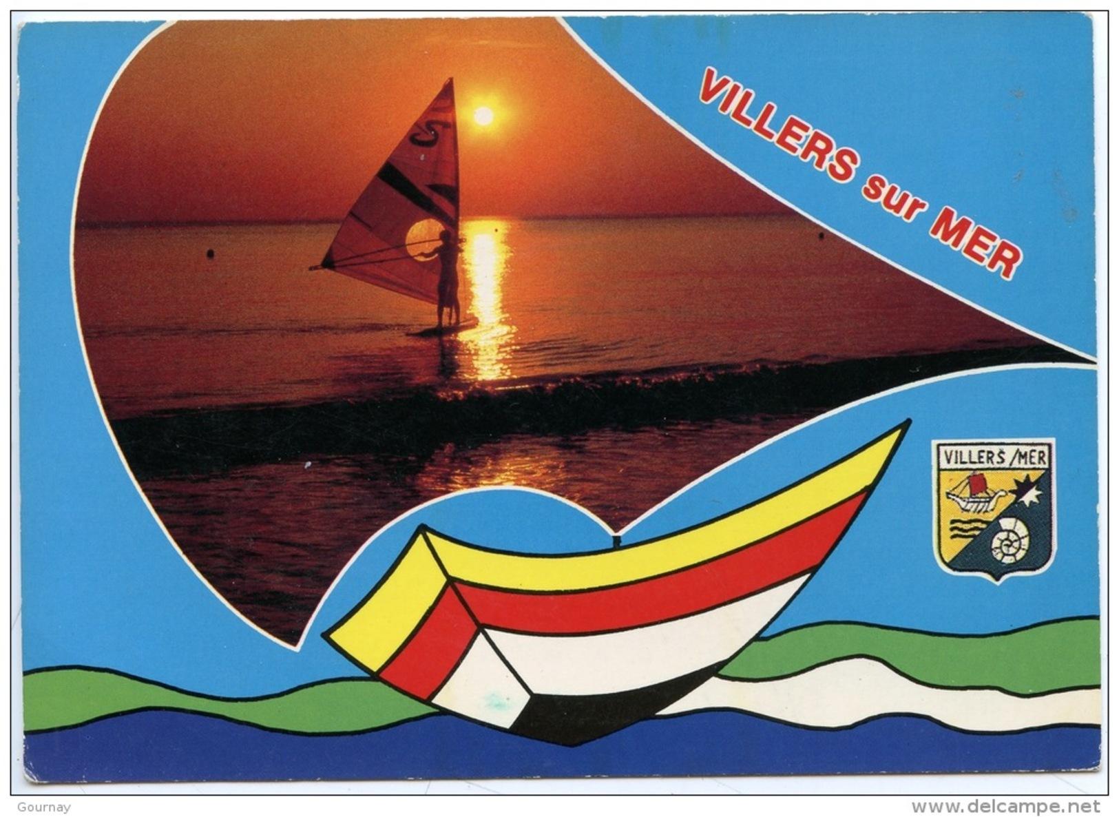 Villers Sur Mer (calvados 14) La Plage - La Cote Fleurie (n°141 Artaud) Blason Planche à Voile & Soleil Couchant - Villers Sur Mer