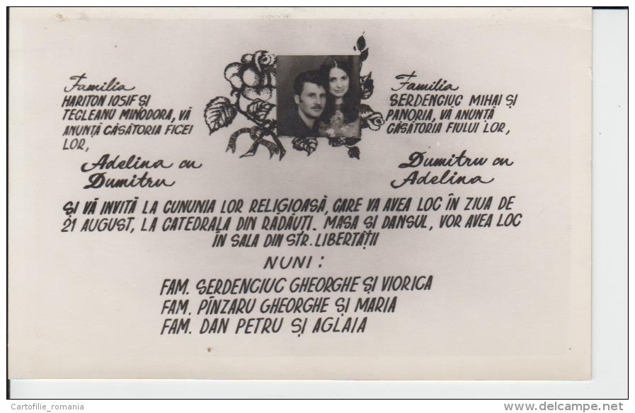 Wedding Postcard - Radauti,Radautz - Bukowina,Bucovina - Wedding Invitation With Photo - Boda